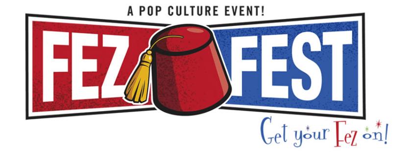 "Fez Fest logo — ""Get your fez on!"""